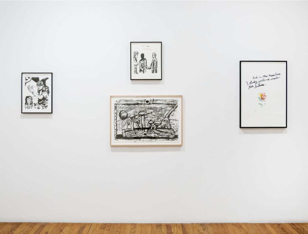 Installation wall view of four works by Philip Guston and Raymond Pettibon at Brooke Alexander, Inc.