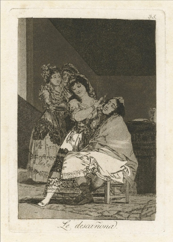 etched print image of three women by artist Goya