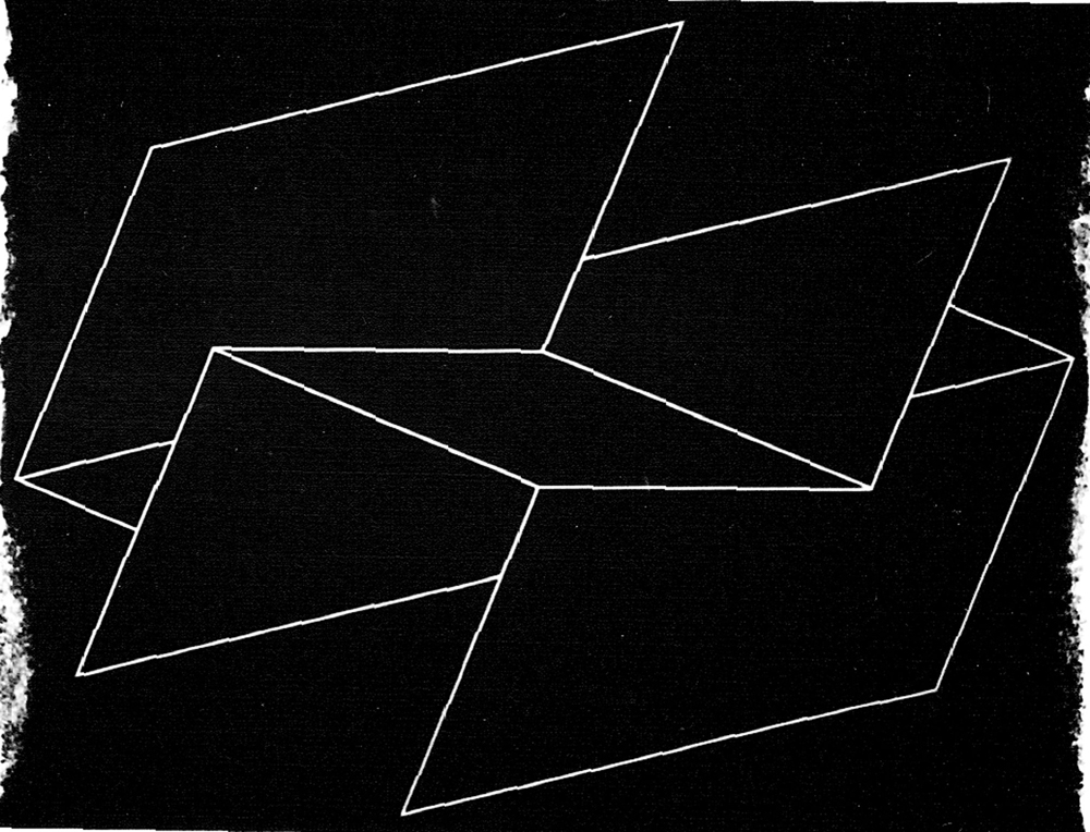geometric design of white lines on black background