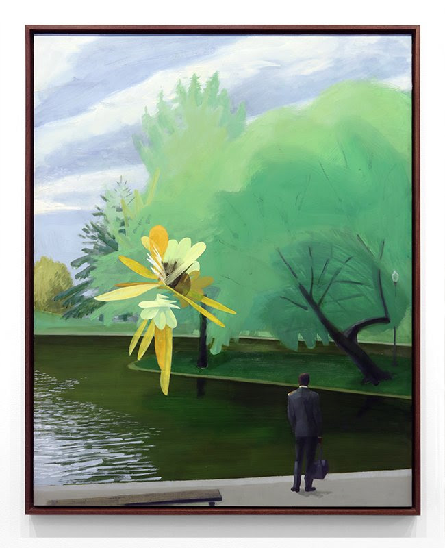 framed fine art print image of man beside lake or pond in a park with a large yellow flower by mike glier titled song sparrow singing in the boston public garden
