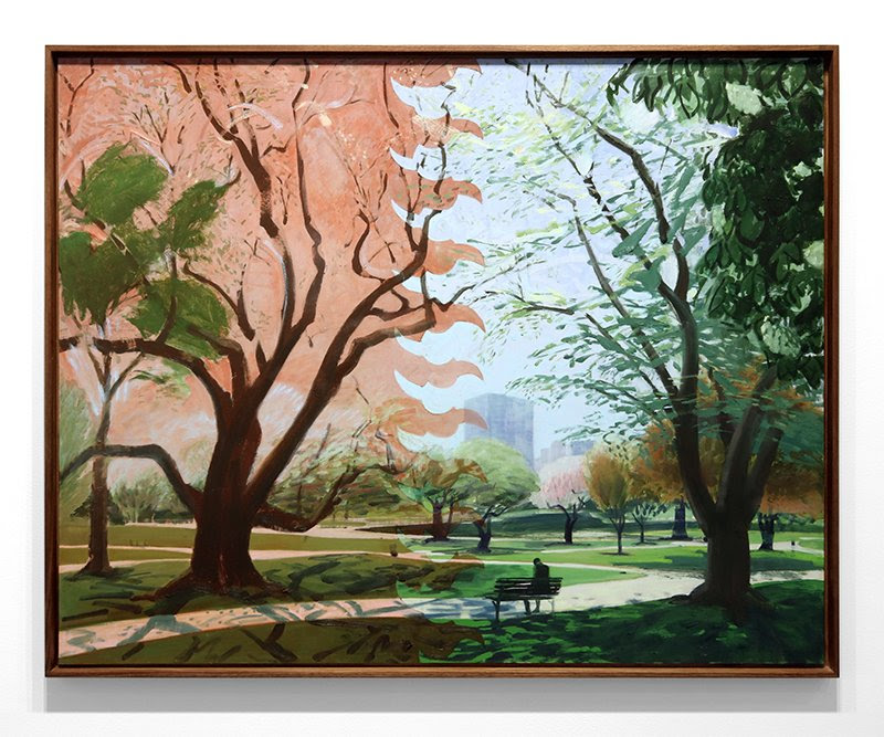 framed fine art print image by mike glier depicting a park with people and a bench titled the sound of a woodpecker in the boston public garden