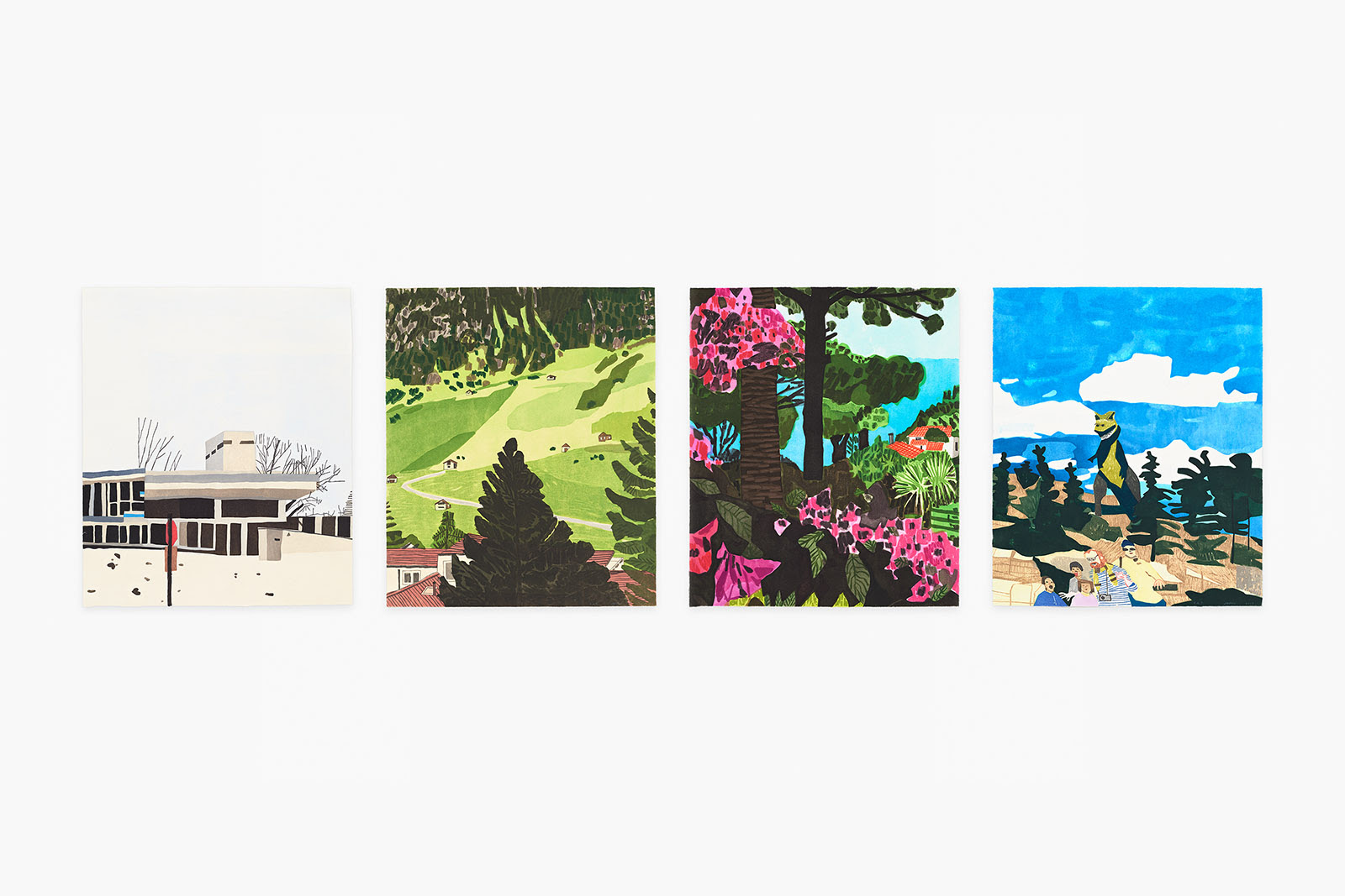 fine art print by jonas wood titled four landscapes which depicts four canvases each showing either mountain, forestry, a bear, or a house