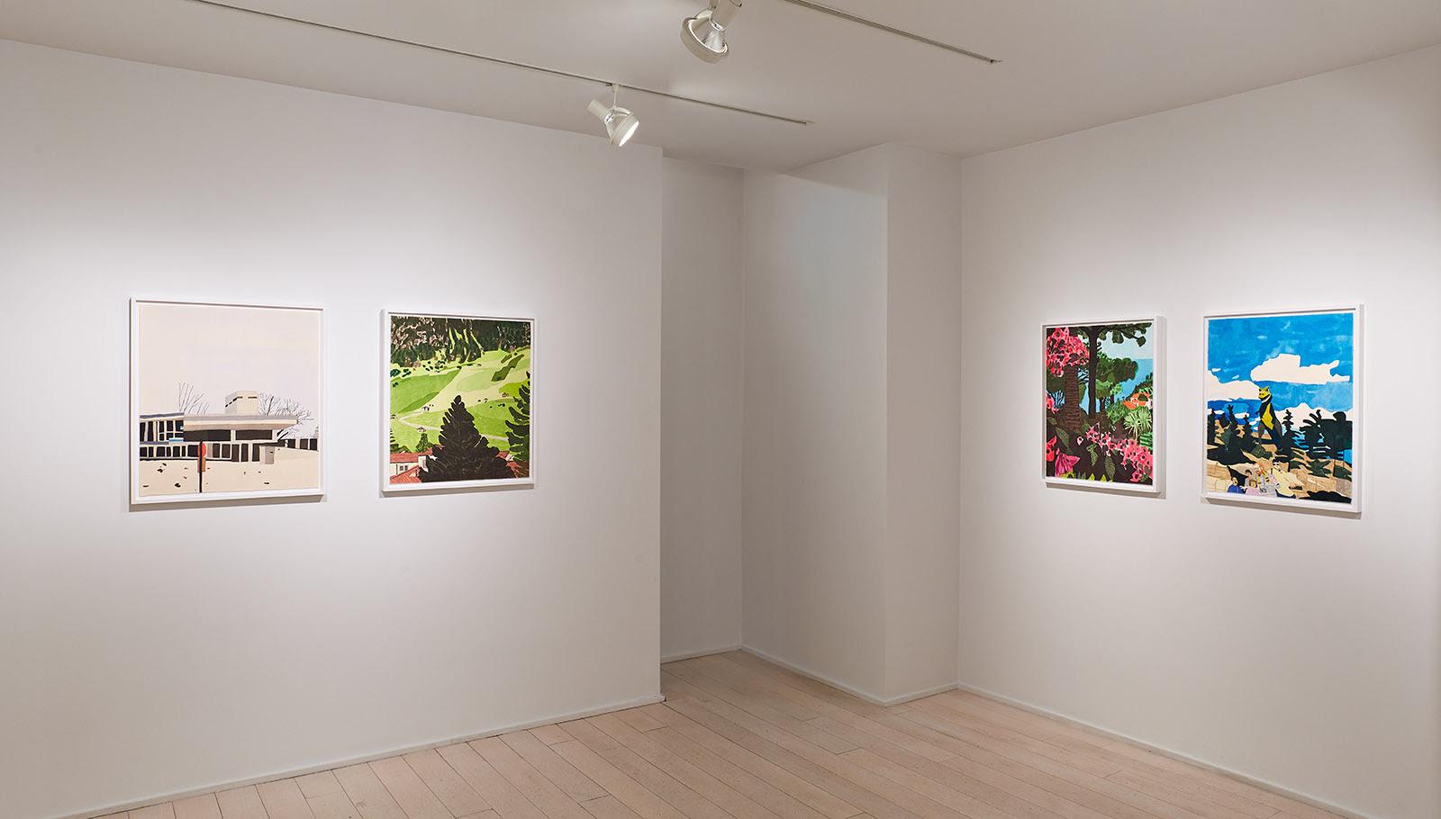 art exhibition of Jonas Wood Four Landscapes (2020) A set of four Ukiyo-e Japanese style woodcuts