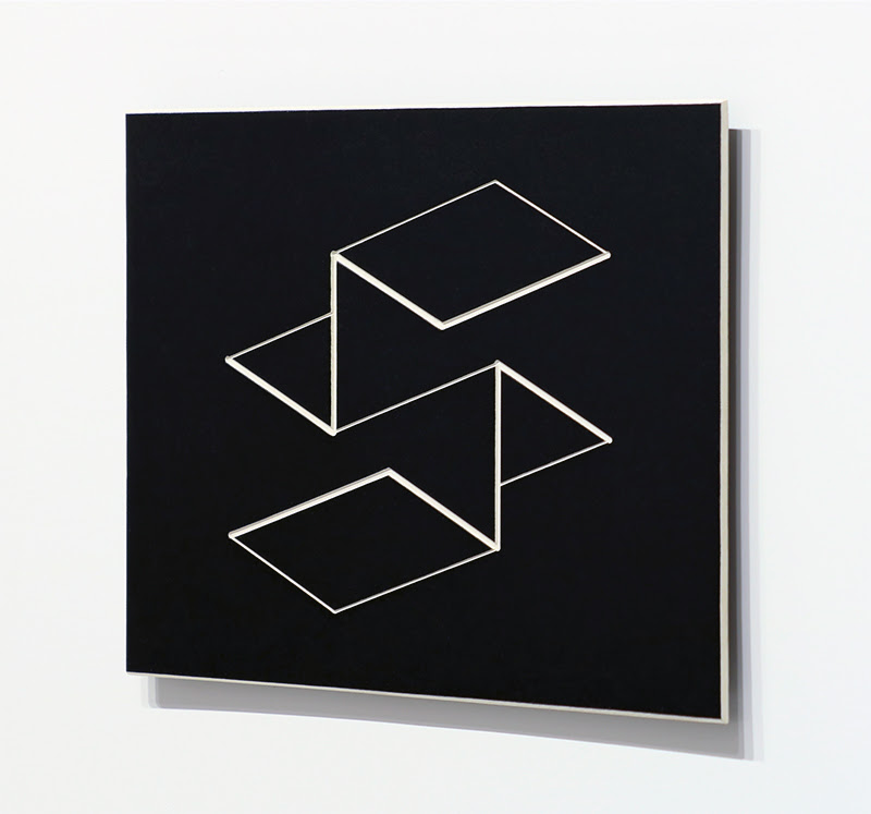 fine art print image of white geometric 3d folds on black background by josef albers titled Structural Constellation