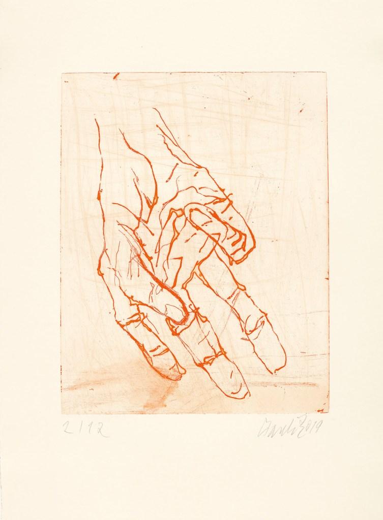 fine art print image of a hand gesture Georg Baselitz, Eine Hand ist keine Faust VII, 2019.