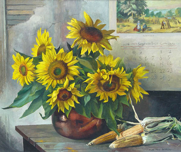 fine art exhibition painting image of sunflowers by Keith Shaw Williams, American (1905-1951) Sunflowers, 1950 Oil on canvas, 30 x 36 inches