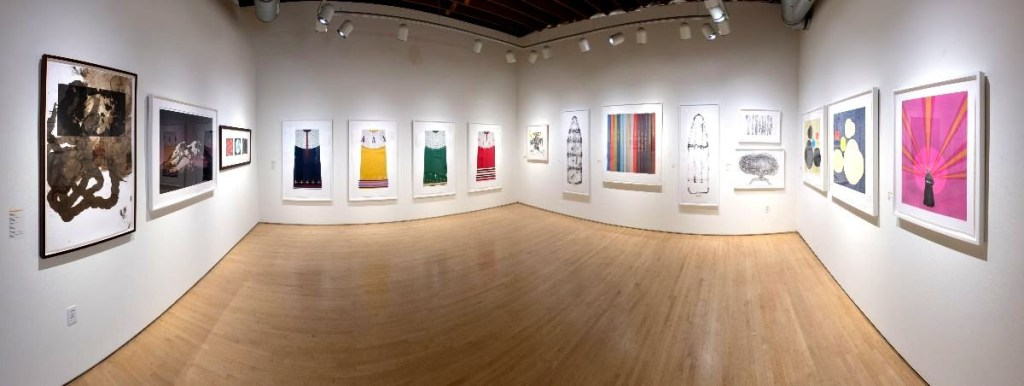 wide interior view of fine art print exhibition at Highpoint Editions