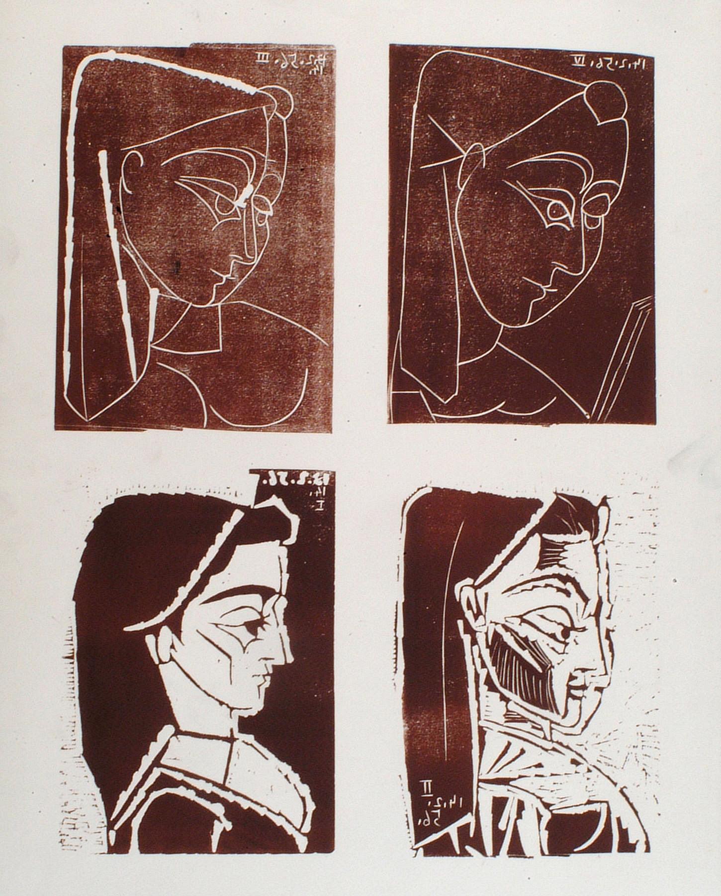 fine art print by Pablo Picasso, Profil de Jacqueline I, II, III, IV, 1956