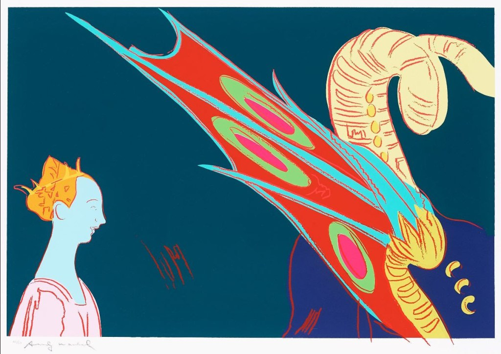 fine art print image depicting andy warhols interpretation of the renaissance image of st george and the dragon, screenprint in color