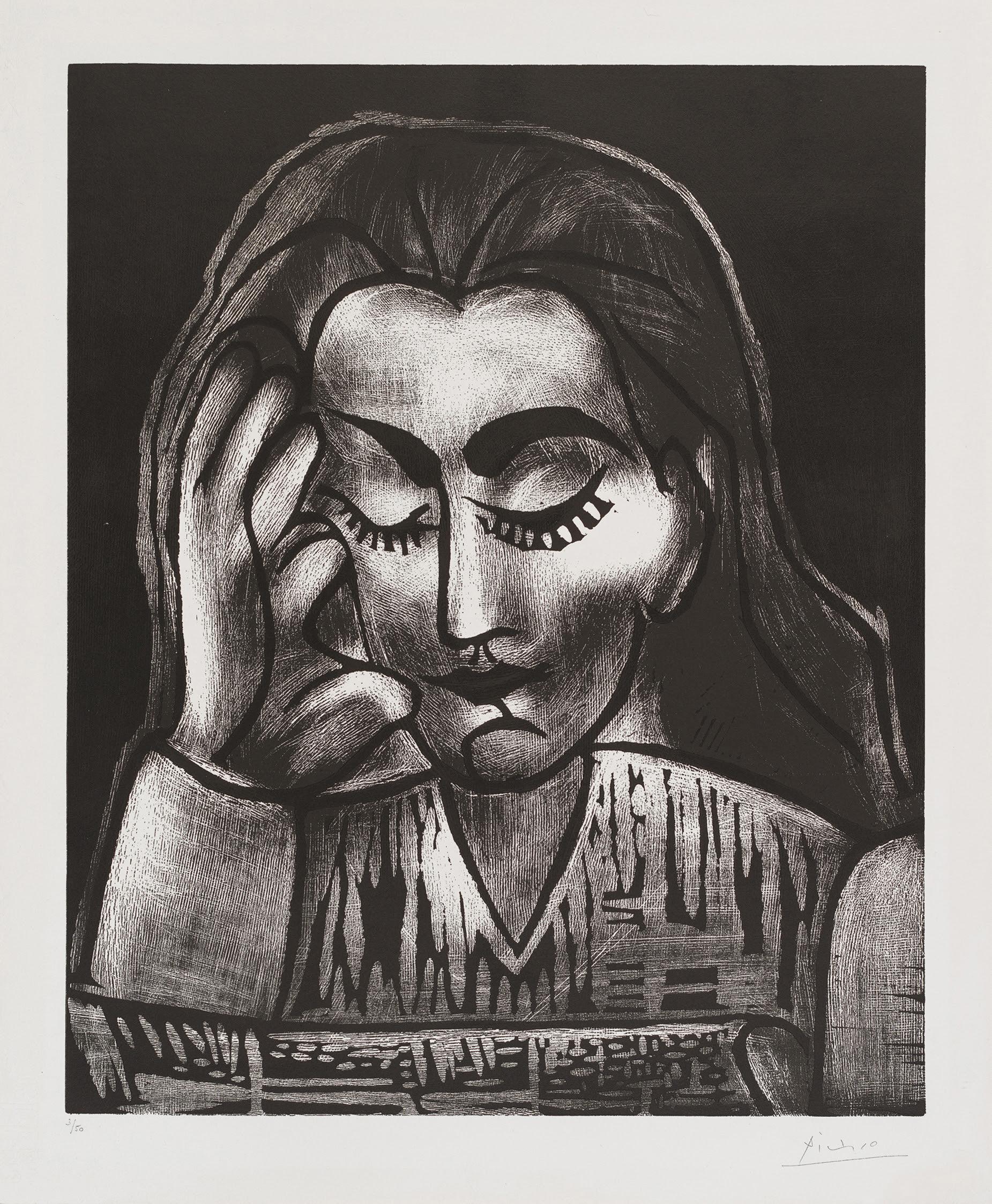fine art print image of Pablo Picasso Jacqueline lisant, 1962