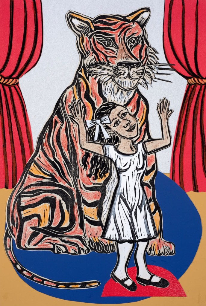 fine art print image of a princess and a tiger at the circus by eileen cooper