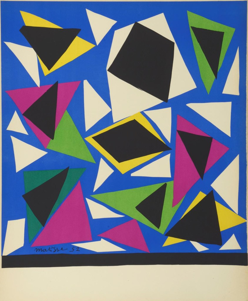 fine art print abstract colored shapes on blue background by henri matisse, composition from a cut paper maquette