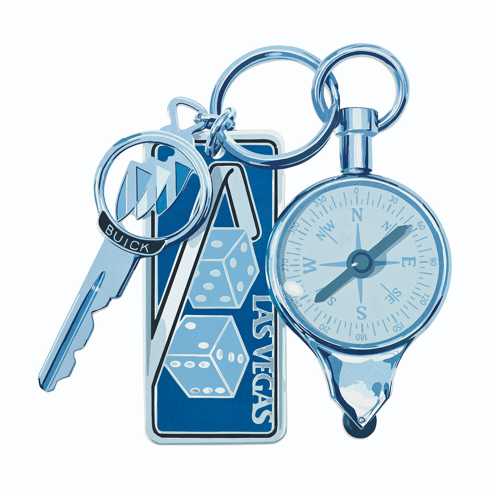 Fine art exhibition image by nick doyle titled there is no true north depicting a key and keychain and compass in blue