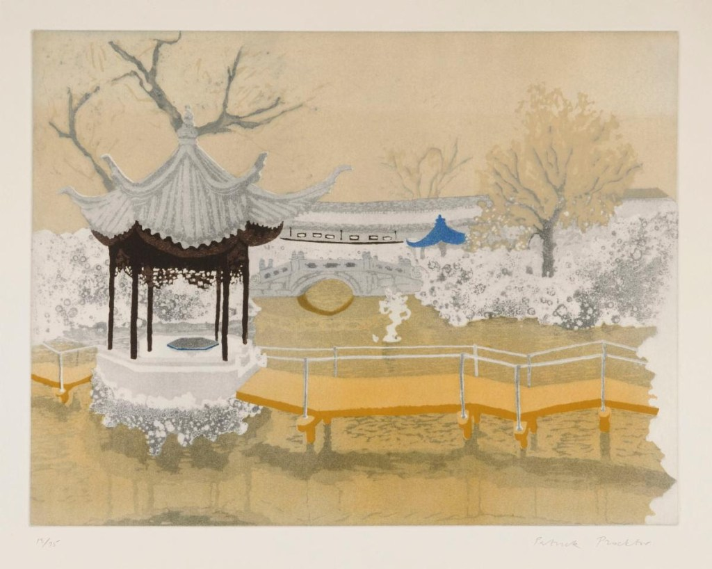 fine art print exhibition image of chinese gazebo park with waves water by Patrick Procktor Lion Rocks Garden, Soochow (from The China Series) 1980 Aquatint