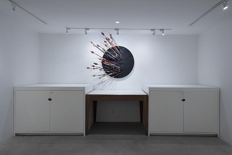 fine art print exhibition installation view of ARI MONTFORD, Indigenous Trauma 2021, mixed media installation, 59 x 48 x 18 inches