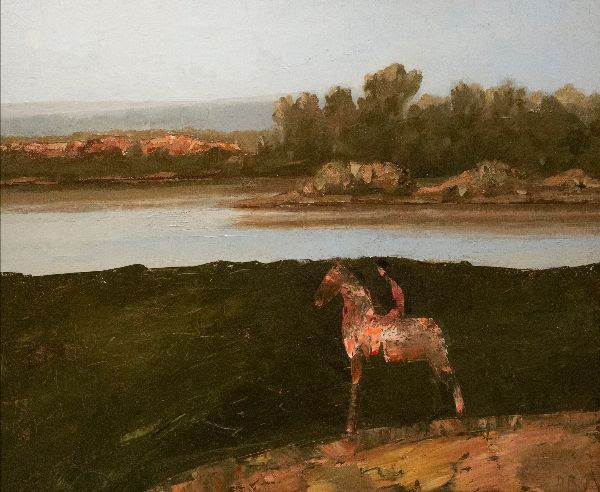 fine art painting of man on horse by river by DEAN RICHARDSON, Crazy Horse Disappearing 1989, oil on linen, 20 x 24 inches
