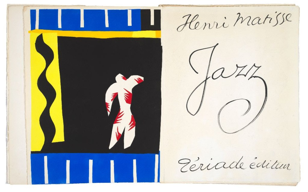 fine art print of le clown by henri matisse. abstract white and red figure on balck background with blue and yellow border