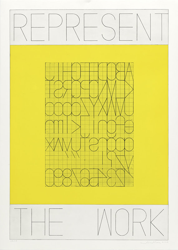 fine art print published by crown point press by artist REPRESENT THE WORK, Alphabet. Aquatint with hard ground etching printed in yellow and black. Edition 8.