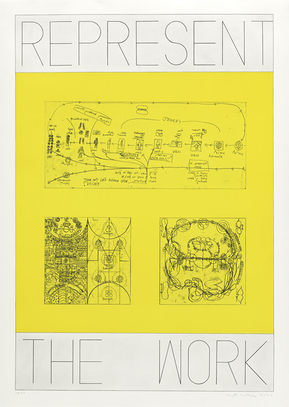 fine art print REPRESENT THE WORK, Charts. Aquatint with soft ground and hard ground etching printed in yellow and black. Edition 8.