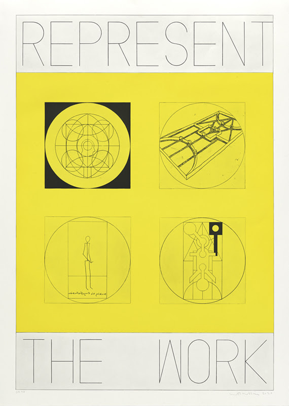 fine art print REPRESENT THE WORK, Person and Place. Aquatint with soft ground and hard ground etching printed in yellow and black. Edition 8.