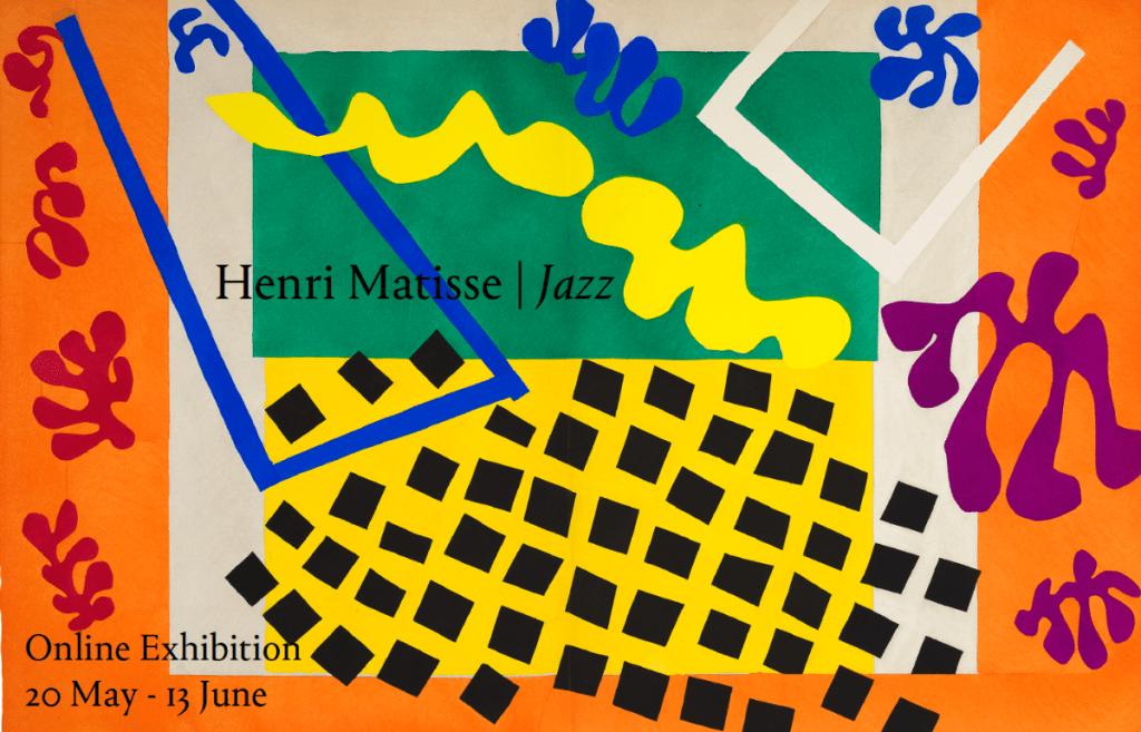 fine art print exhibition announcement for henri matisse: jazz  at sims reed gallery