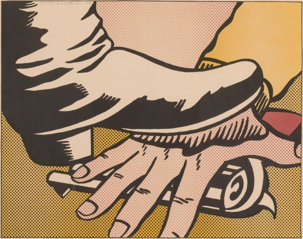 fine art print of boot stepping on hand by  Roy Lichtenstein, American (1923-1997) Foot and Hand, 1964 Offset color lithograph, 16 1/2 x 20 7/8 inches