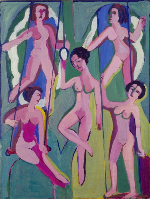 Ernst Ludwig Kirchner, Artisten an Ringen (und Trapez) (Artists on Rings (and Trepeze)), 1923/8, Oil on canvas, 100 x 75 cm.