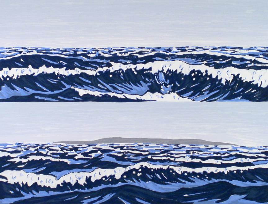 fine art print image of waves by Richard Bosman, American, b. India, 1944, Landfall, 1994, 7-color screenprint, sheet: 28-1/2 x 35-3/4 in.