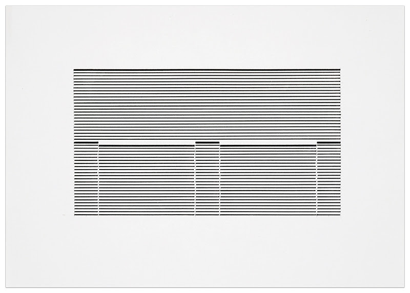 fine art print exhibition at krakow witkin- image of blinds by Michael Craig-Martin, Untitled (Venetian Blind Study 7), 1988, ink on paper, framed: 13 5/8 x 18 3/8 inches (35 x 47 cm)