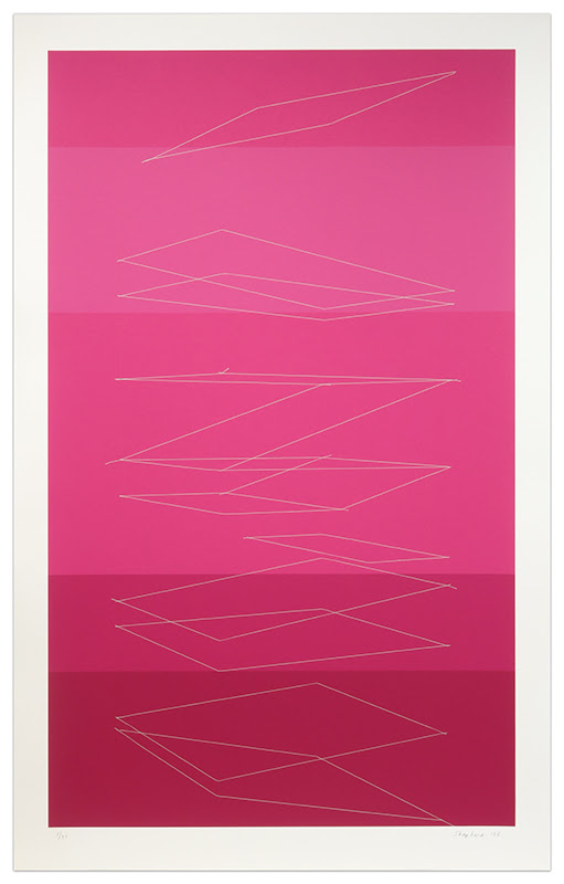fine art print pink gradient by Kate Shepherd, Falling Cards, 2006, silkscreen, edition of 45, 44 x 27 1/2 inches (112 x 70 cm)