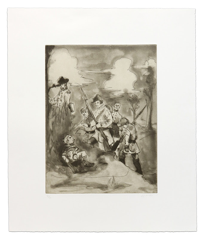 fine art print image of soldiers on a hill in a forest by Kara Walker, Li'l Patch of Woods, 1997 Etching, aquatint, and spitbite in black on ivory China paper, chine collé'd on white wove paper 18 x 15 inches (46 x 38 cm) Edition of 35