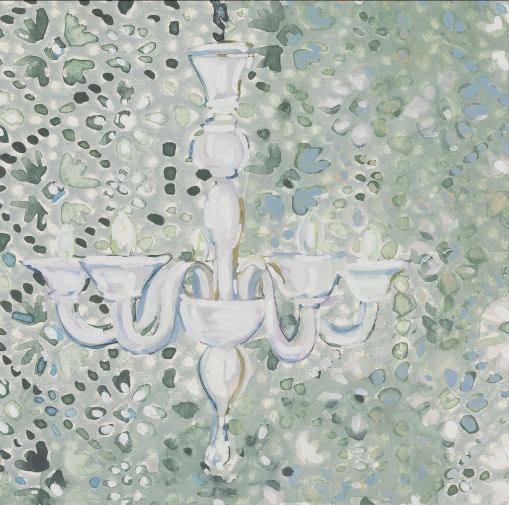 fine art print image of chandelier on patterns background by  Lee Essex Doyle, American (b.1968) Dappled Reflections, 2018 Mixed media on paper on masonite, 6 x 6 inches
