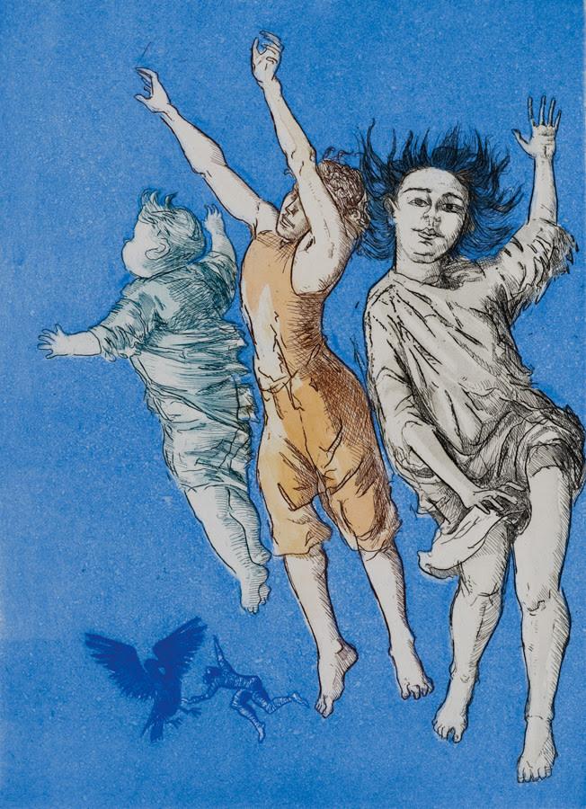 fine art print exhibition image of children flying in blue by Paula Rego, Flying Children, 1992.