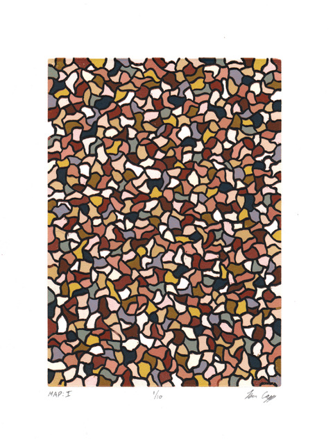 fine art print image of various brown white and black shapes arranged like pebbles by Ben Capp, Map I, linocut