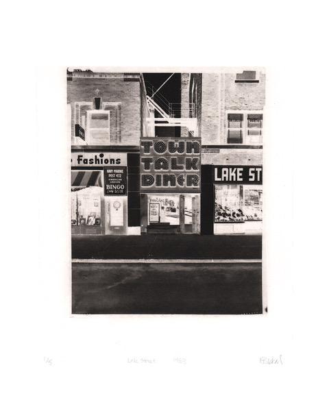 fine art print image of storefronts on lake street in 1983 by Kristin Bickal, Lake Street 1983, polymergravure