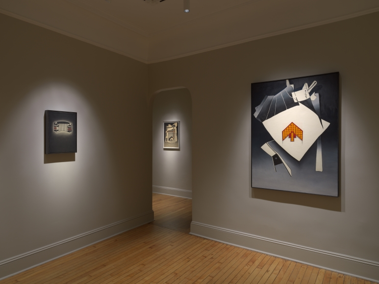 installation view of fine art print exhibition at craig starr gallery titled Deborah Remington: Early Drawings