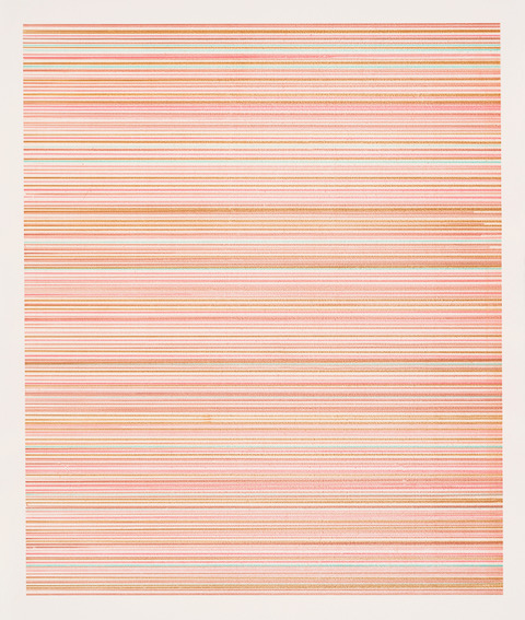 fine art print of different shades of pink orange and tan lines by Pam Sullivan, Line No. 4, Screenprint