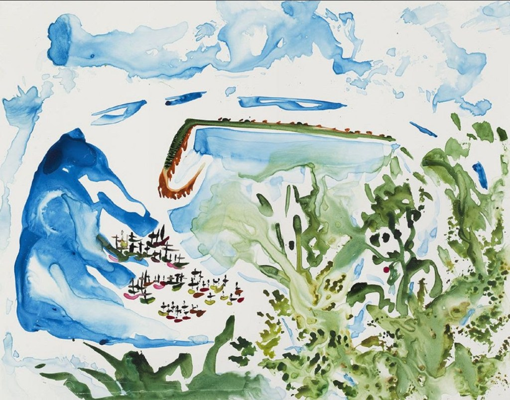 watercolor painting of provincetown harbor by Karen Lee Sobol, American  Provincetown Harbor, Morning, 2015 Watercolor on Yupo Paper, 11 x 14 inches