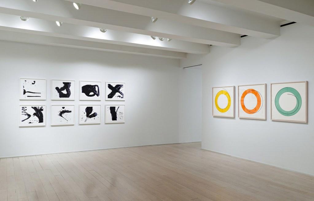 fine art print exhibition installation image of portfolios at pace prints