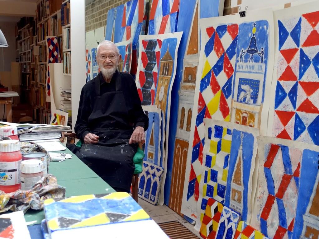 Joe Tilson in his studio in London, June 2021. Photo: Jake Tilson.