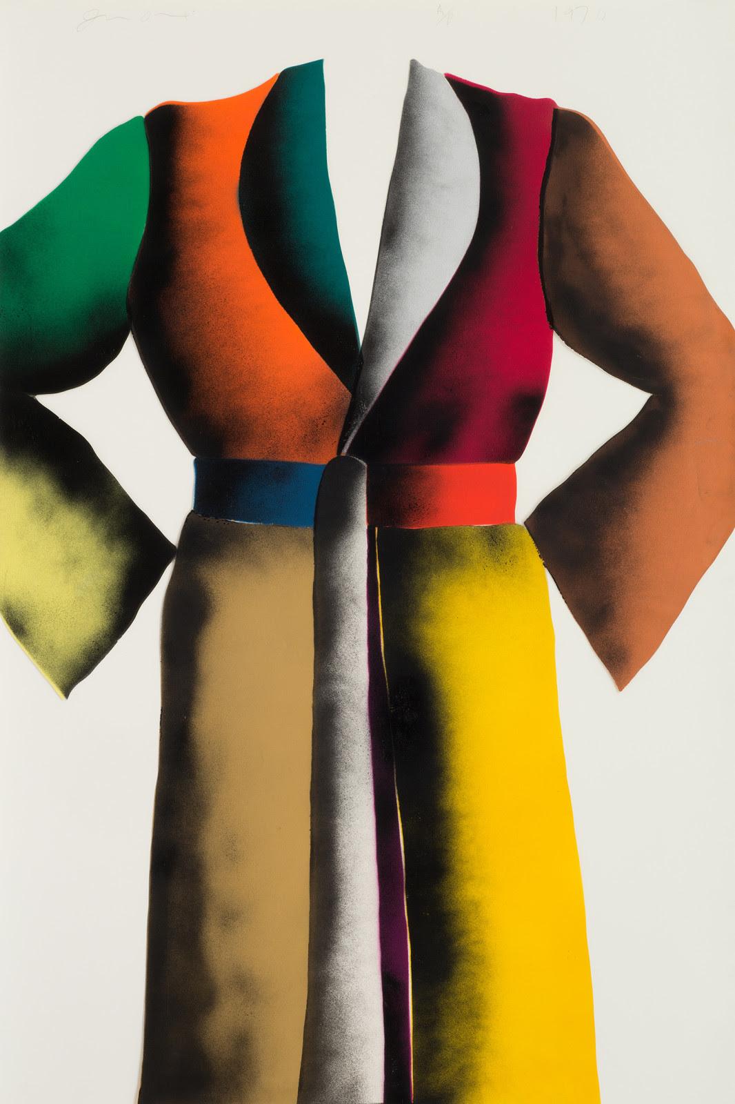 fine art print of multi colored robe by Jim Dine; Self-Portrait (Stencil), 1970