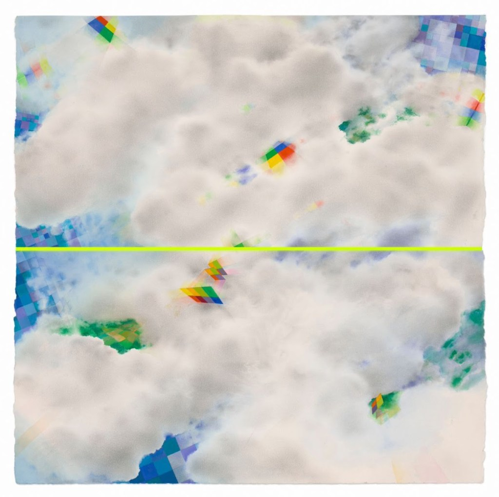 nona hershey artwork depicting clouds with rainbowsa and a yellow line through the middle