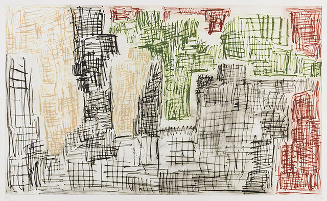 fine art print image of abstract drawn boxes in black red green and yellow by Günther Förg
