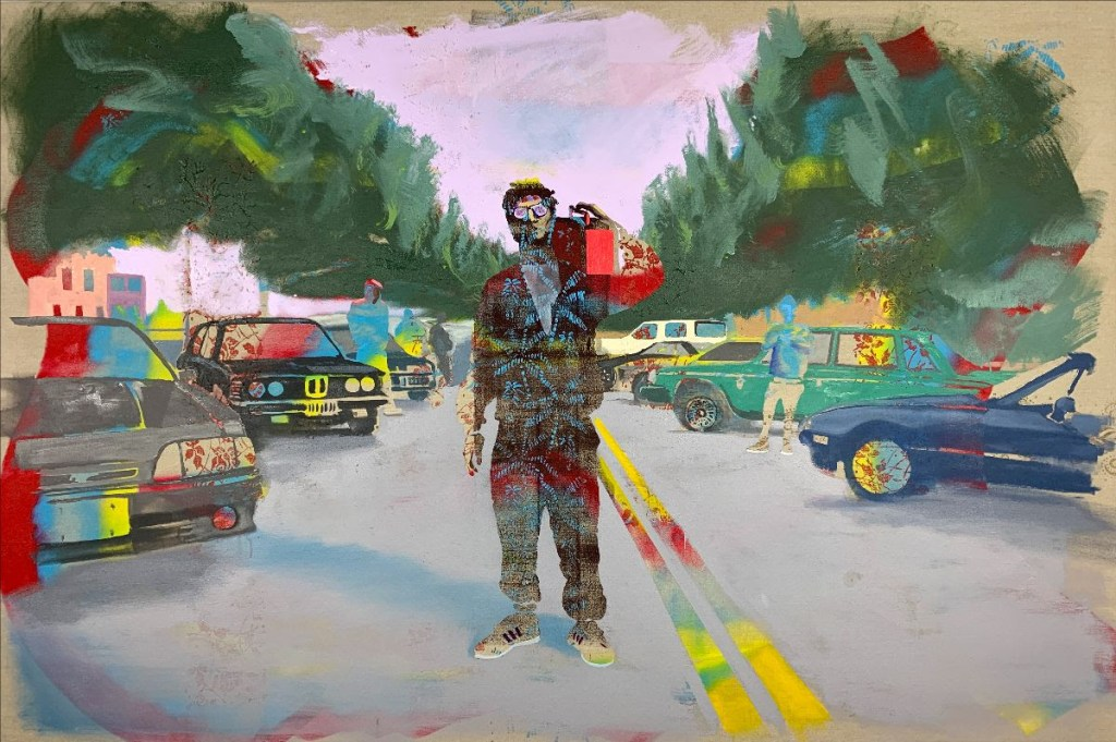 fine art exhibition image of man in street with boom box on shoulder by Andrew Fish Silent Kid, 2021 Oil on linen, 48 x 72 inches