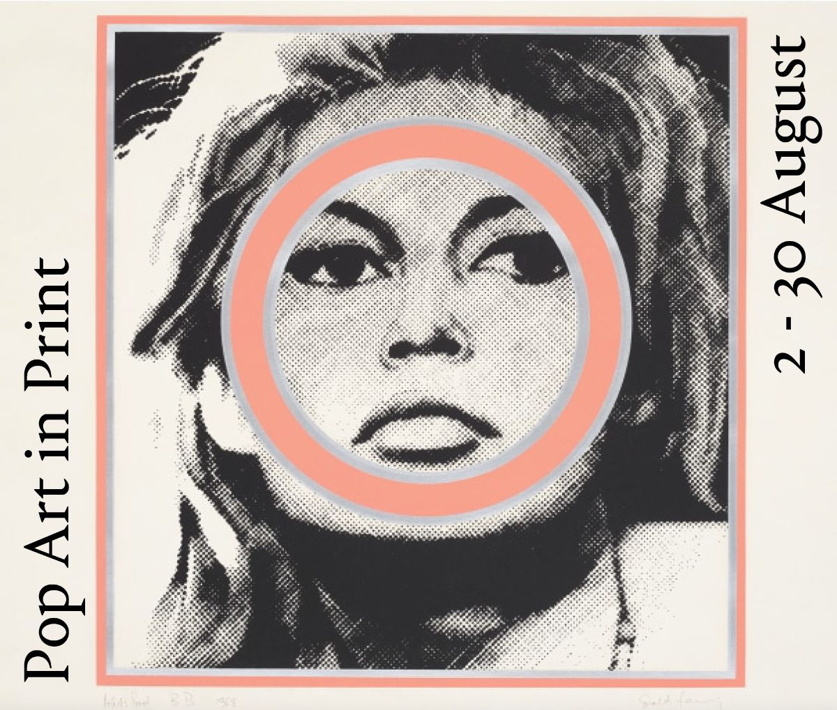 fine art print exhibition announcement featuring andy warhol print at sims reed gallery