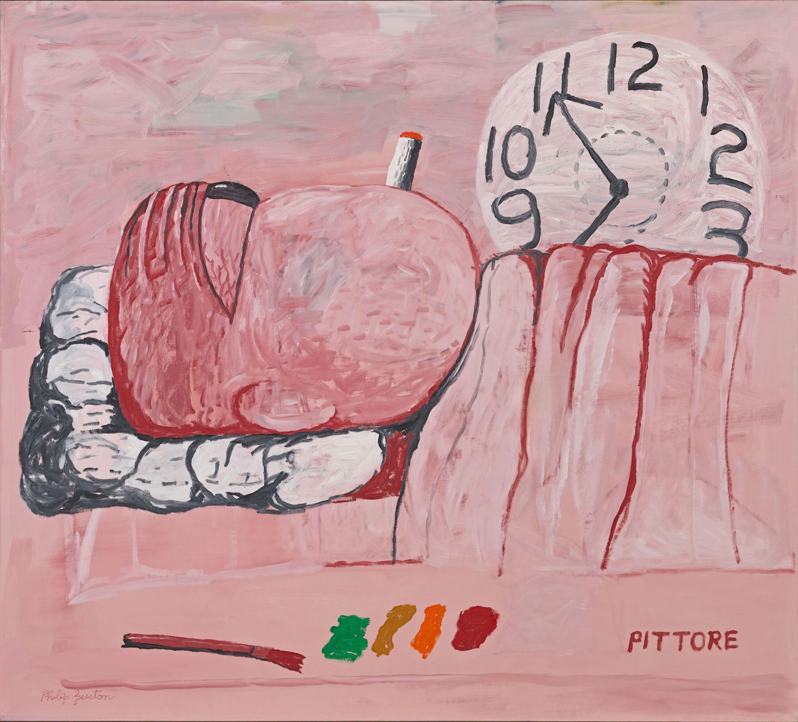 Pittore, 1973 Oil on canvas 184.8 x 204.5 cm / 72 3/4 x 80 1/2 in Private Collection © The Estate of Philip Guston, courtesy Hauser & Wirth Photo: Genevieve Hanson