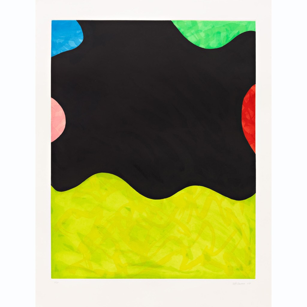 fine art print image showing various colors and shapes by mary heilmann, hiphop, etching, 2002