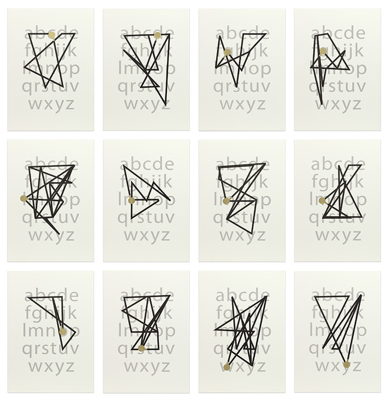 fine art print images of linear markings over the lower case letters of the alphabet. kay rosen mappings.