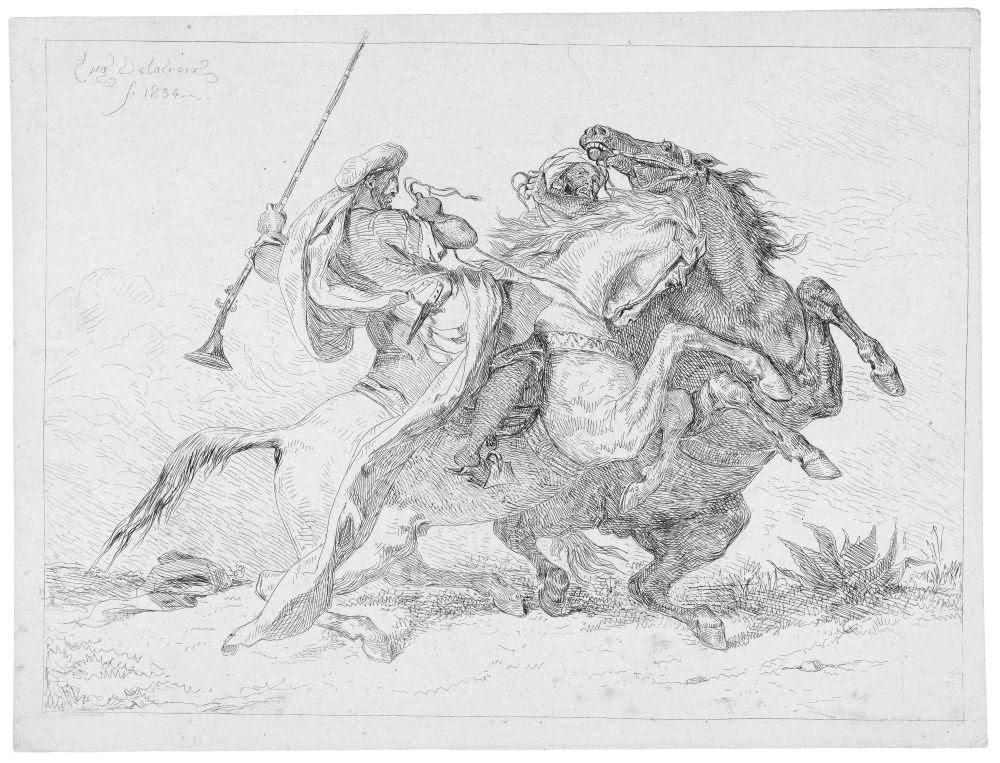 fine art print Eugène Delacroix, Rencontre de Cavaliers Maures, 1834. Etching. Size of sheet: 20.1 x 26.5 cm
