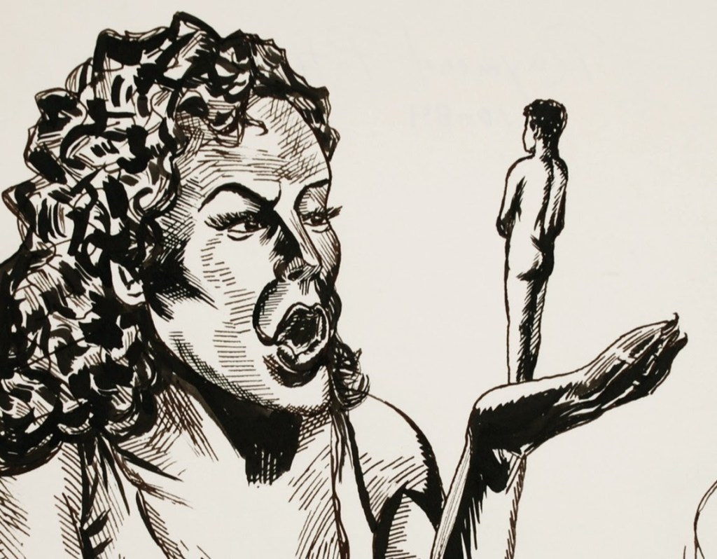 drawing of a woman holding a miniature naked person